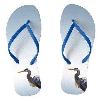 Great Blue Heron Bird Flip Flops