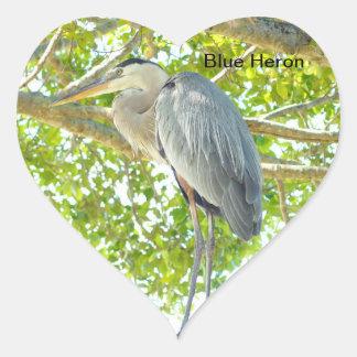 Great blue Heron bird Heart Sticker
