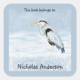 Great Blue Heron Bird  Nature Art Bookplate Square Sticker