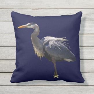 Great Blue Heron Bird Outdoor Pillow