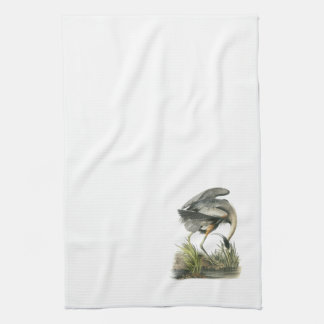 Great Blue Heron by Audubon Hand Towel