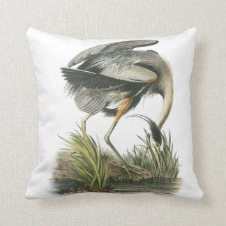 Great Blue Heron by Audubon Throw Pillow