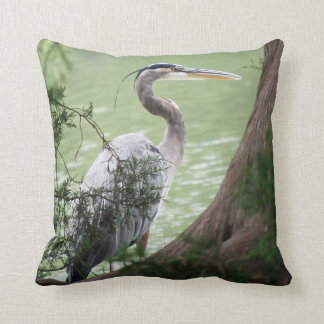 Great Blue Heron By The Tree Throw Pillow