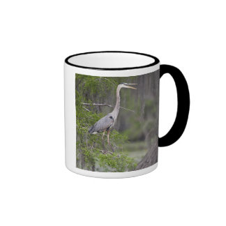 Great Blue Heron calling form cypress tree Ringer Mug