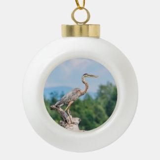 Great Blue Heron Ceramic Ball Christmas Ornament