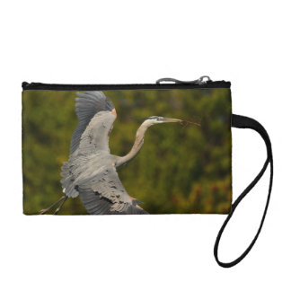 great blue heron change purse