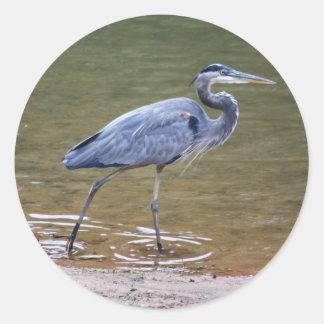 Great Blue Heron Classic Round Sticker