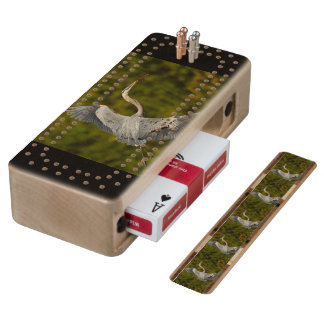 great blue heron cribbage board