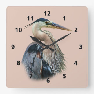 Great Blue Heron Customizable Square Wall Clock