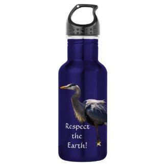 Great Blue Heron Earth Day 18oz Water Bottle