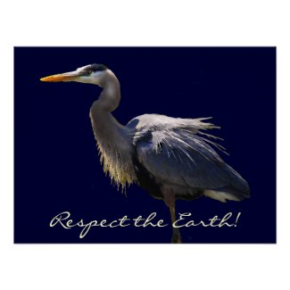Great Blue Heron Earth Day Poster