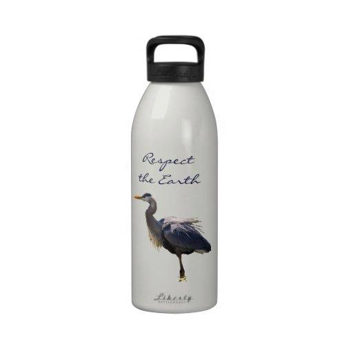 Great Blue Heron Earth Day Water Bottle