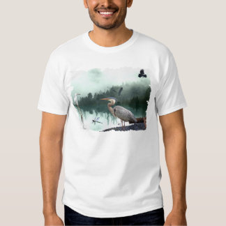 Great Blue Heron, Egret, Crow & Dragonfly T-Shirt