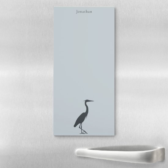 Great Blue Heron Egret silhouette personalized Magnetic Notepad