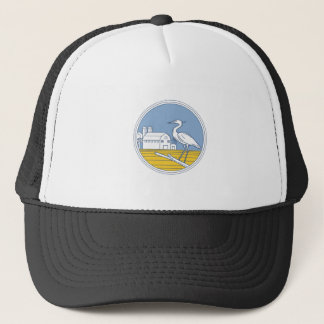 Great Blue Heron Farm Barn Circle Retro Trucker Hat
