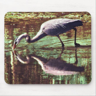 Great Blue Heron Fishing Mouse Pad