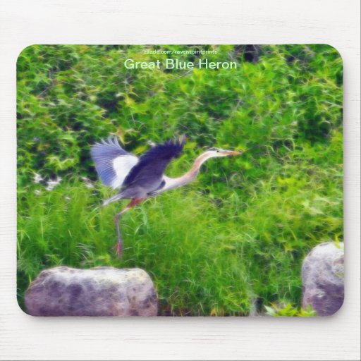 Great Blue Heron Flying Bird Wildlife Mouse Pads