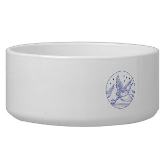 Great Blue Heron Flying Circle Mono Line Bowl