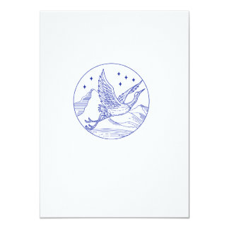 Great Blue Heron Flying Circle Mono Line Card