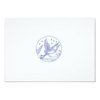 Great Blue Heron Flying Circle Mono Line Card