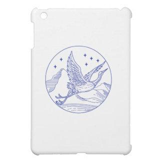 Great Blue Heron Flying Circle Mono Line iPad Mini Cover