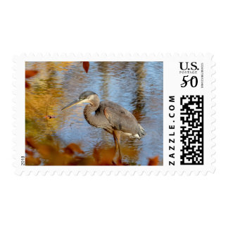 Great Blue Heron framed with fall foliage Postage