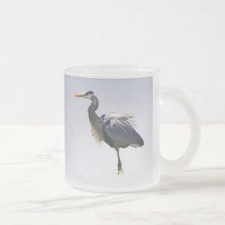 Great Blue Heron Frosted Glass Coffee Mug