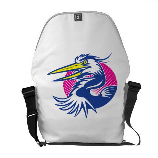 Great Blue Heron Head Retro Courier Bags