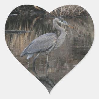 Great Blue Heron Heart Sticker