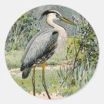 Great Blue Heron Illustration Classic Round Sticker