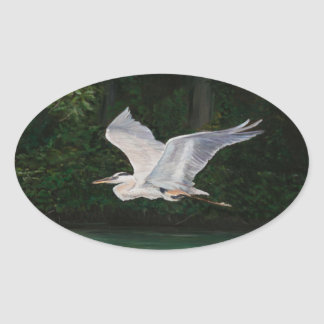 Great Blue Heron in Flight Bird Art Sticker