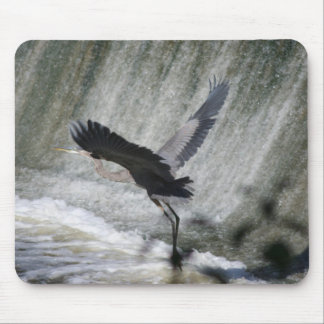 Great Blue Heron in takeoff at falls mouse pad