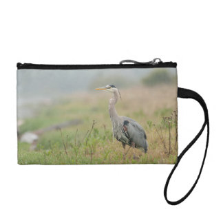 Great Blue heron in the rain Coin Wallet
