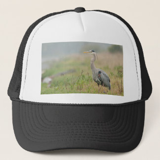 Great Blue heron in the rain Trucker Hat
