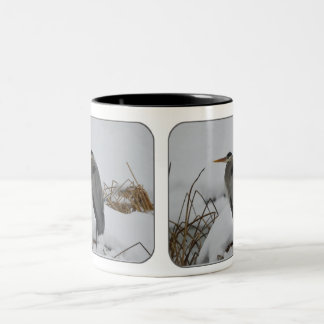 Great Blue Heron in the snow. Two-Tone Coffee Mug