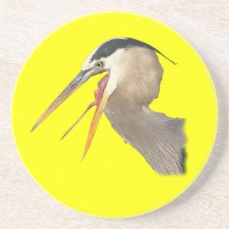 great blue heron is thirsty drink coasters