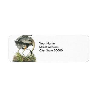 Great Blue Heron, John Audubon Label