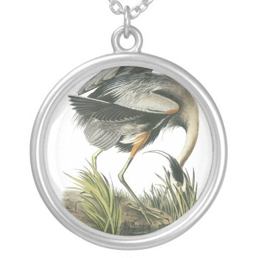 Great Blue Heron, John Audubon Necklaces