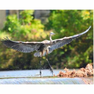 great blue heron landing at falls statuette