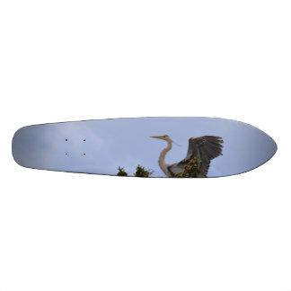 Great Blue Heron Landing on Nest Custom Skateboard
