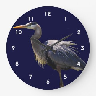 Great Blue Heron Large Clock