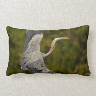 great blue heron lumbar pillow