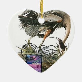 Great Blue Heron maximum card Audubon Ceramic Ornament