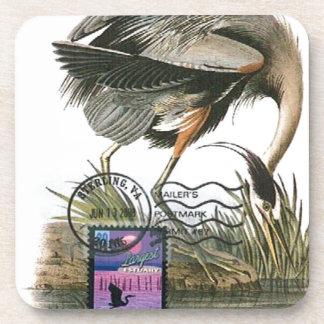 Great Blue Heron maximum card Audubon Beverage Coaster