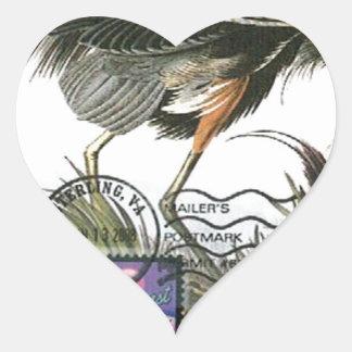 Great Blue Heron maximum card Audubon Heart Sticker