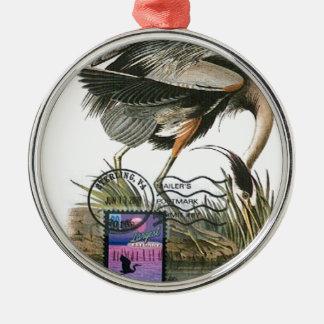 Great Blue Heron maximum card Audubon Metal Ornament