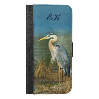 Great Blue Heron, Monogram iPhone 6/6s Plus Wallet Case
