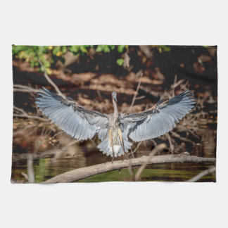Great Blue Heron on a log Kitchen Towel