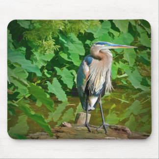 Great Blue Heron on a Log Mousepad