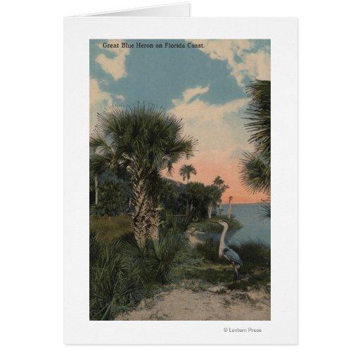 Great Blue Heron on Florida Coast Beach Cards